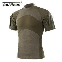 TACVASEN erkek yaz taktik tişört ordu savaş T Shirt kısa kollu saldırı askeri kamuflaj Rip stop Paintball T shirt
