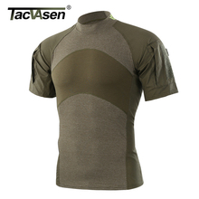 Tacvasen camiseta de combate tático do exército t camisa de manga curta assalto militar camuflagem rip stop paintball t shirts