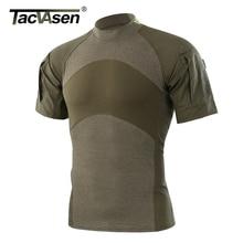 Tacvasen男性の夏戦術的なtシャツ陸軍戦闘tシャツ半袖暴行軍迷彩リップストップペイントボールtシャツ