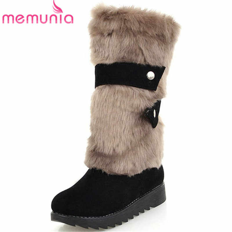 MEMUNIA 2019 yeni varış orta buzağı çizmeler kadın yuvarlak ayak akın platform ayakkabılar kadın sıcak tutmak kış kar botları büyük boy 34-43