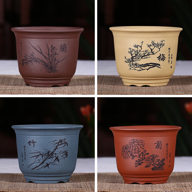 Chinese Style Mini Bonsai Pots Purple Clay Flower Handmade Groot Plant For Indoor Flowers