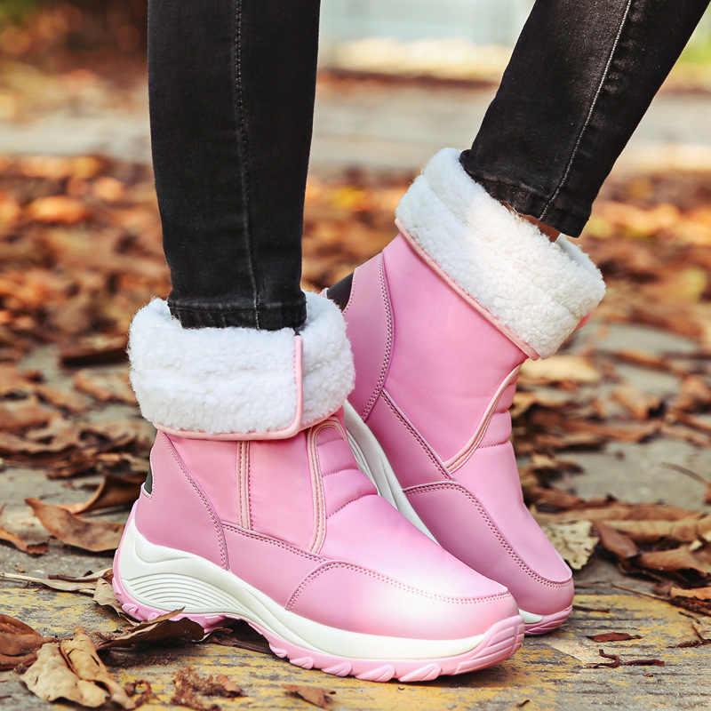 LAKESHI yeni kadın botları kış kürk kar botları kadın yarım çizmeler marka sıcak tutmak kışlık botlar moda kış ayakkabı kadın ayakkabı