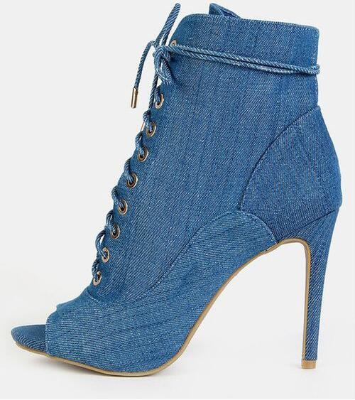 New Designer Blue Denim Woman Ankle Boots 2018 Peep Toe Lace-up Studded Boots Women High Heels Cut-out Gladiator Shoes Boot