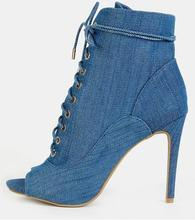 New Designer Blue Denim Woman Ankle Boots 2018 Peep Toe Lace-up Studded Boots Women High Heels Cut-out Gladiator Shoes Boot 2017 new fashion denim sandal boots peep toe cutouts side zip woman thin heels holloe out summer gladiator boots