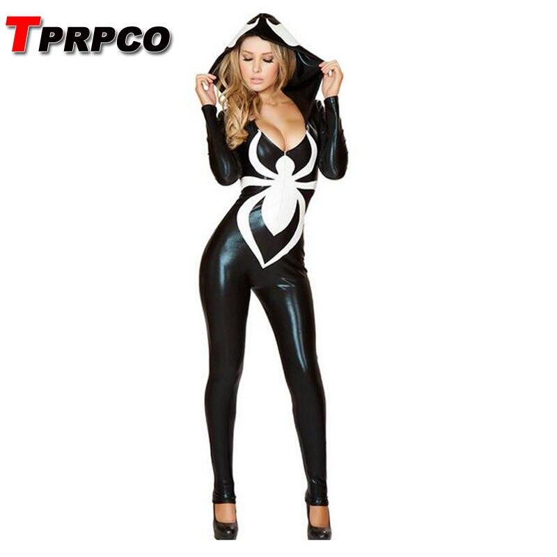TPRPCO Spider Women Costume Black Zentai Suit Sexy Costumes Women Halloween Girl Hoodie Venom Spiderman Jumpsuit NL166