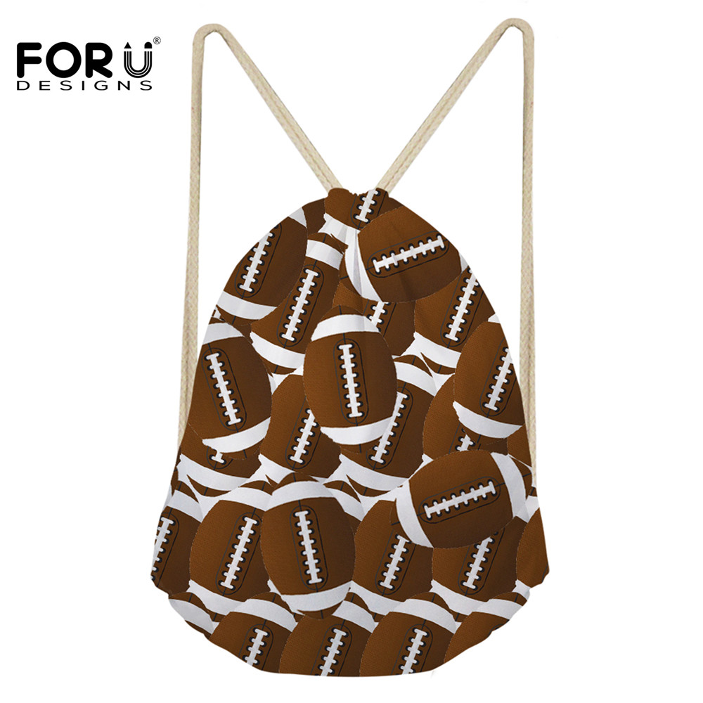 FORUDESIGNS Casual Children Drawstring Bags Rugby Football Balls Pattern String Backpack Cinch Sack Daily Kid Beach Storage Bag