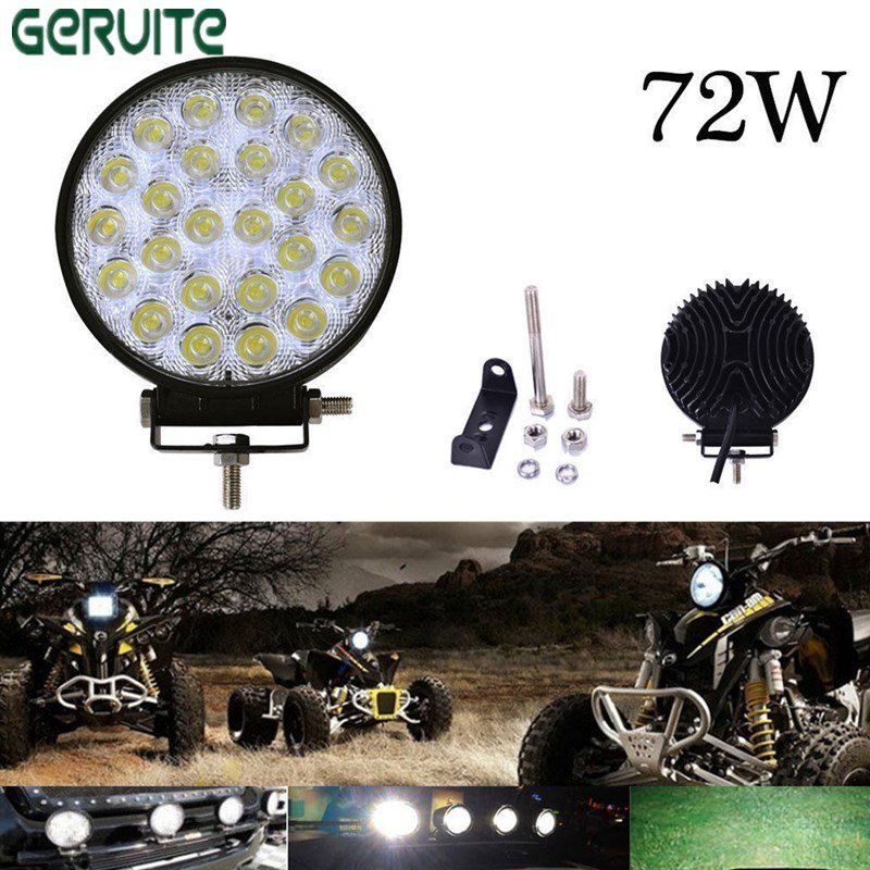 2PCS/Lot 72W Round Waterproof LED Work Light  Truck Driving Lamp Floodlight Offroad Light For ATV SUV Boating Hunting fog light 1pcs 120w 12 12v 24v led light bar spot flood combo beam led work light offroad led driving lamp for suv atv utv wagon 4wd 4x4