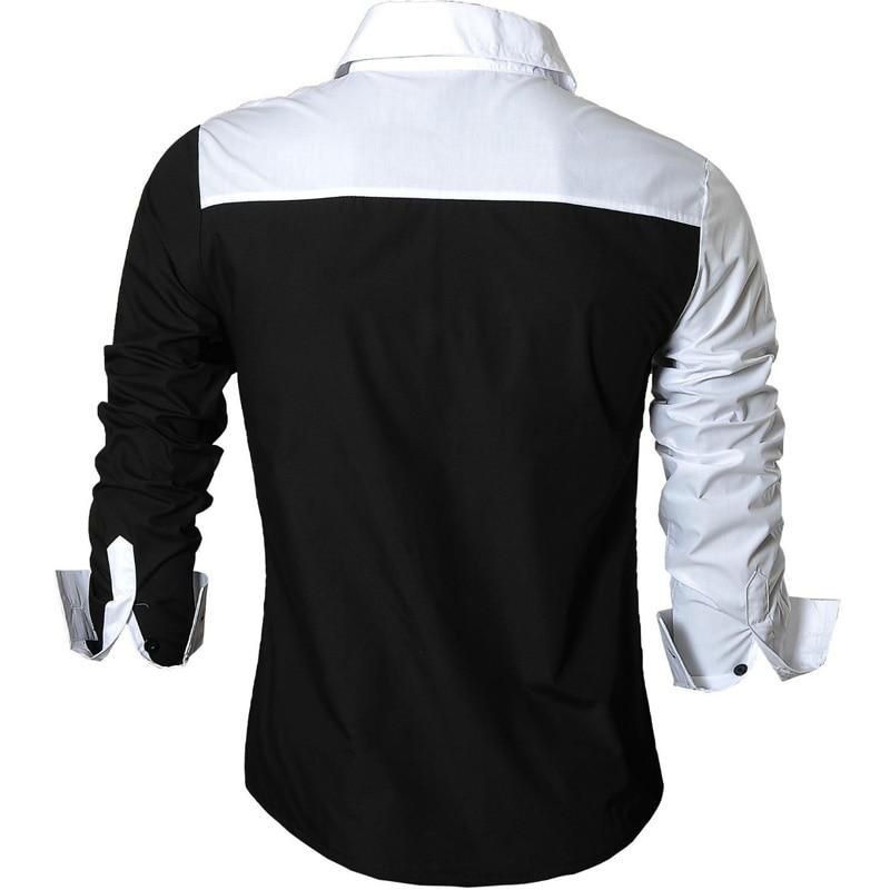Jeansian Men's Casual Dress Shirts Fashion Desinger Stylish Long Sleeve Slim Fit 8371 Black2 3