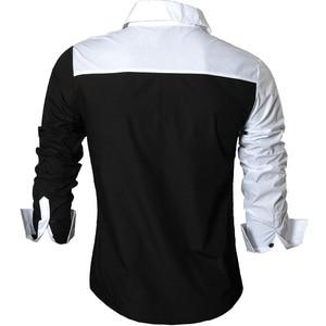 Image 3 - Jeansian גברים של שמלה מזדמן חולצות אופנה Desinger אופנתי ארוך שרוול Slim Fit 8371 Black2
