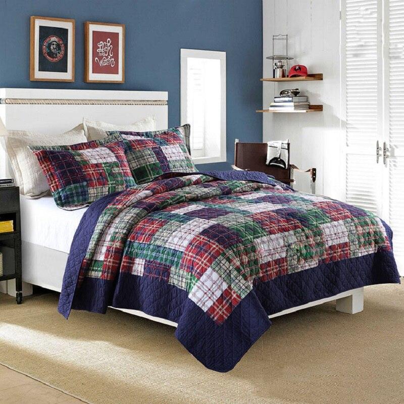 ᗕChausub estilo americano edredón Conjunto 3 unids algodón lavado ...