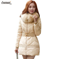1PC Winter Jacket Women Big Fur Hooded Parka Thick Cotton Coat Women Outerwear Jaqueta Feminina Inverno Chaqueta Mujer Z956