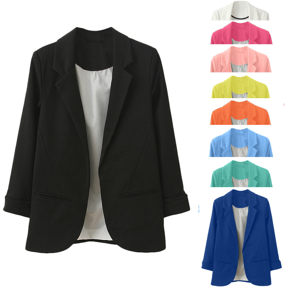 2019 Women's Blazer Pink Long Sleeve Blazers Solid Cardigan Coat Slim Office Lady Jacket Female Tops Suit Blazer Femme Jackets