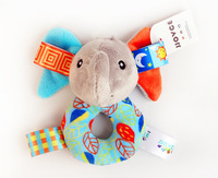 1pc 13cm Cloth Night Sleepy Donut Elephant Baby Pacify Rattles Bright Hand Grasp Label Cute Early