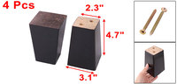 Home Wooden Furniture Cabinet Bed Chair Couch Sofa Legs Feet Replacement Black 4pcs