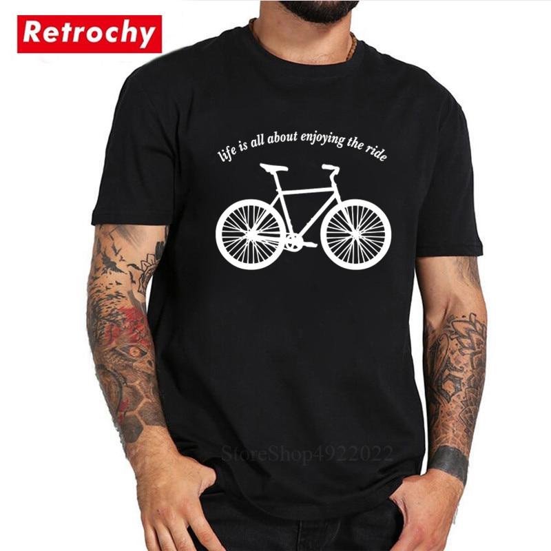 3dc22d60 MTB T-Shirt Men Creative Design Enjoy The Ride Bicycling T Shirts Funny  Mountain Biker Heartbeat Tshirt Cycling Big Size Clothes