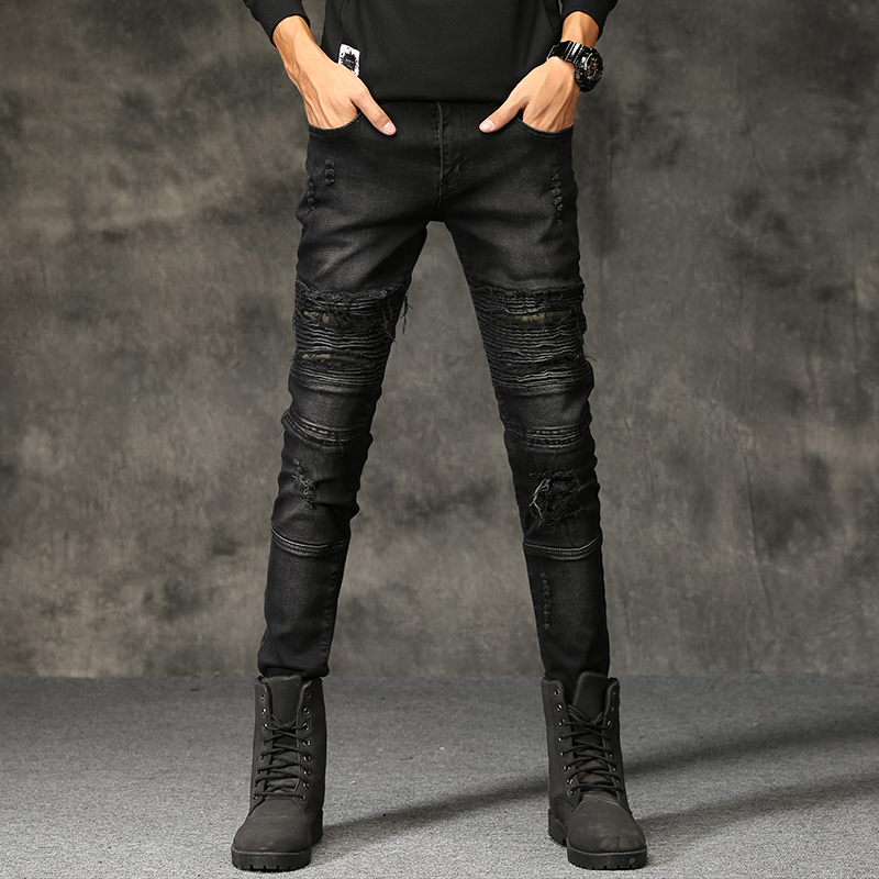 Men Fashion  Ripped Biker Jeans Distressed Moto Denim Joggers Destroyed Knee black Leather Pleated Patch Skinny Holes Jeans