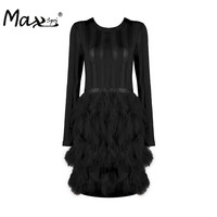 Max Spri Elegant Solid Feathers Mini Dress Sexy Hollow Out O Neck Full Sleeve Autumn Women