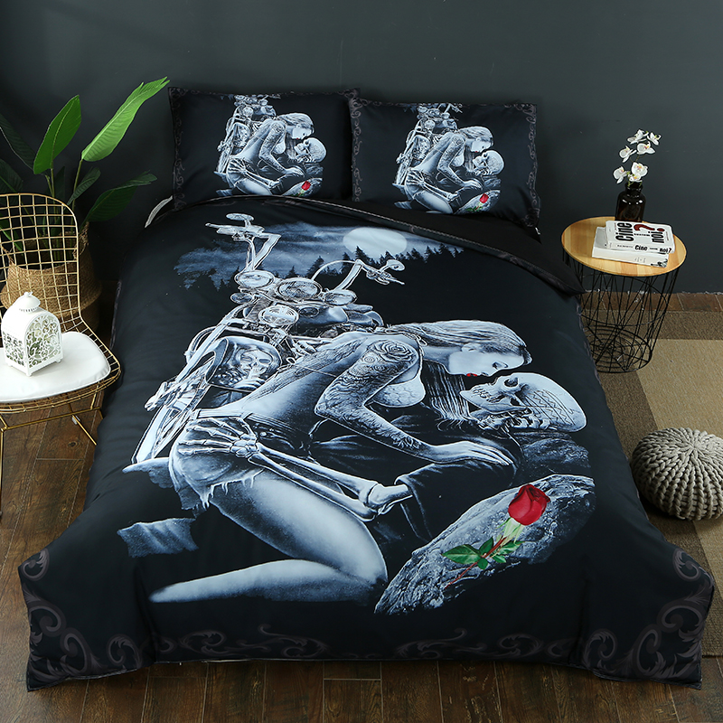 Drop Shipping 2/3pcs 3D Ride Die Bedding Set Halley Motorcycle Duvet Cover Pillowcase Red Rose Beauty Kiss Skull Duvet Cover Set