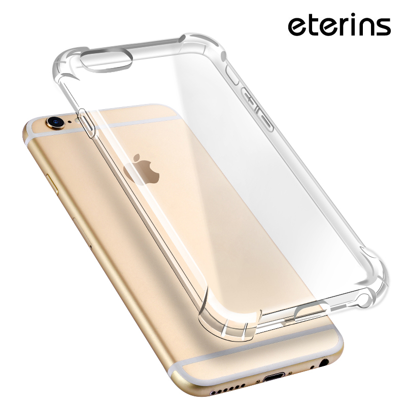 ETERINS Antishock Transparent Silicone Phone Case for iPhone 6 s Glossy Soft Transparent Case for iPhone 7 7Plus 8 X Clear Cover