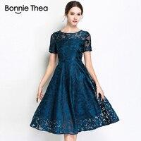 women Elegant blue lace embroidery Plus size Dress Vestidos L 5XL Mesh Short sleeve big size Dresses Large size party dress