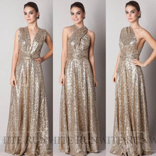 Cheap Rose Gold Sequined Bridesmaid Convertible Dresses Floor Length Hot Selling Wedding Party Dress 2016 Free Shipping SSX238