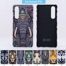 Original Luxo Rei Da Floresta Animais Asteca Rostos Lobo Leão Coruja Padrão Capa Dura Caso Protetor de Telefone para Huawei P30