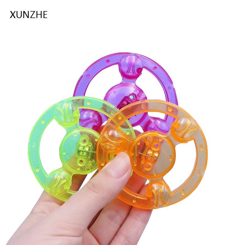 XUNZHE Novelty Hand Pull Luminous Flashing Flywheel Whistle Toys Flash High Speed Rotating Gyro Childrens Holiday Party Gift