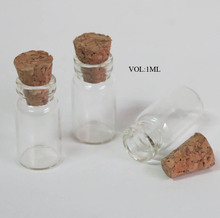 Free Shipping -1ml Mini Glass Bottle with wood cork,small glass bottle, Empty Bottle,Glass Vials. clear bottle