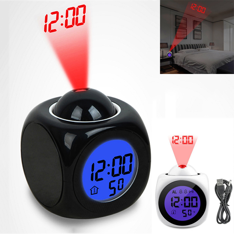 Multi-Function Led Alarm Clock With Night Lights Digital Time LCD Voice Temperature Projection Light Table Lamps For Desk Travel
