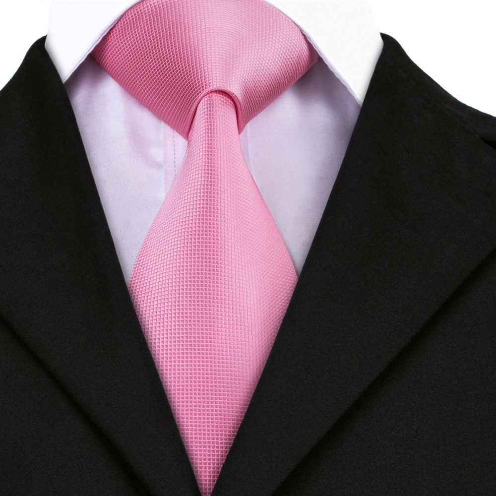 Fashion Men Tie Pink Solid Silk Jacquard Necktie Business Party Wedding Gifts Ties For Men 8.5CM Width A-401
