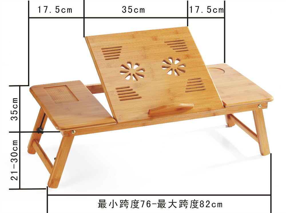70*35cm Multipurpose Folding Loptop Desk Portable Bed learning desk with USB fan and drawer wholesale multipurpose folding laptop desk portable bed tablet pc desk