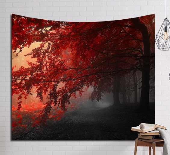 CAMMITEVER Red Maple Leaves Scenery Dark Forest Autumn Tapestry Romantic Woods Wall Decor Boho Tapestry Printed Wall Hanging