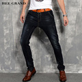 Hee grand homens moda jeans 2017 calças jeans de corpo inteiro mid-cintura alta elasticidade quatro estações fino demin calças mkn877