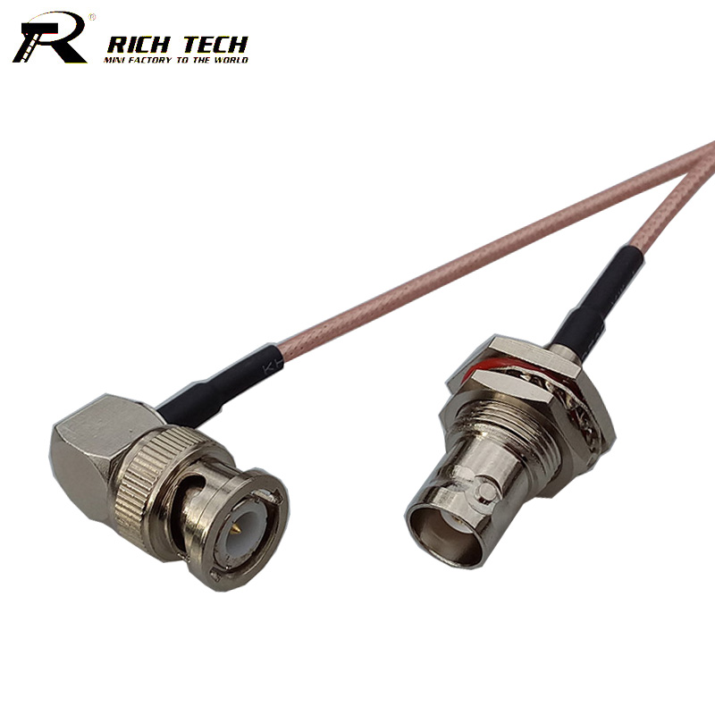 Promotion RF Connector Pigtail Cable BNC Female to Right Angle BNC Male Connector RF Coaxial RG316 Cable RF Extension Cord factory sales rf coaxial cable f to mcx connector f female to mcx male right angle plug rg316 pigtail cable 15cm free shipp