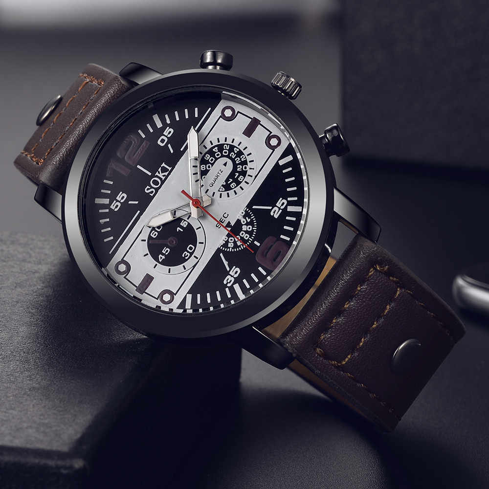Business men Watch High Quality Fashion Leather Band Luxury Watch Quartz Watch Cool Clock Relogio Masculino for droshipping