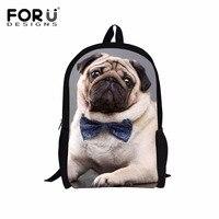 Forudesigns divertente 3d pug bambini borse da scuola mochilas infantil cane animale bambini zaino per i ragazzi di spalla della ragazza scuola zaino