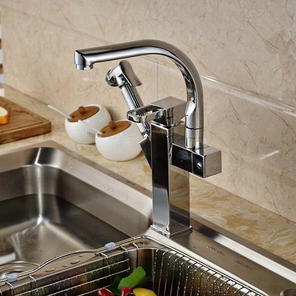ФОТО Chrome Brass Kitchen Faucet Dual Sprayer Pull Out Sprayer Vessel Sink Mixer Tap