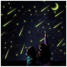 Diseño creativo Pegatinas de Pared Brillante Meteoro Noche Luminosa Luna Vinilo Adhesivos Decorativos para la Habitación Del Bebé Decoración de La Pared