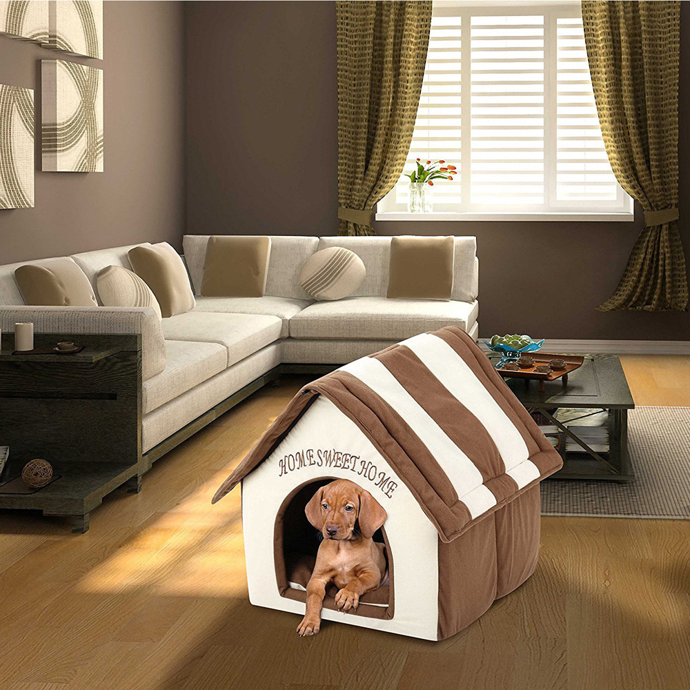 Portable Indoor Pet Bed Dog House Soft Warm and Comfortable Cat Dog Sweet Room pet house