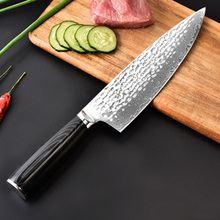 Liang Da 2019 new damascus steel blade color wood handle 8 inch damascus knife chef knife 67 layers damascus kitchen knife