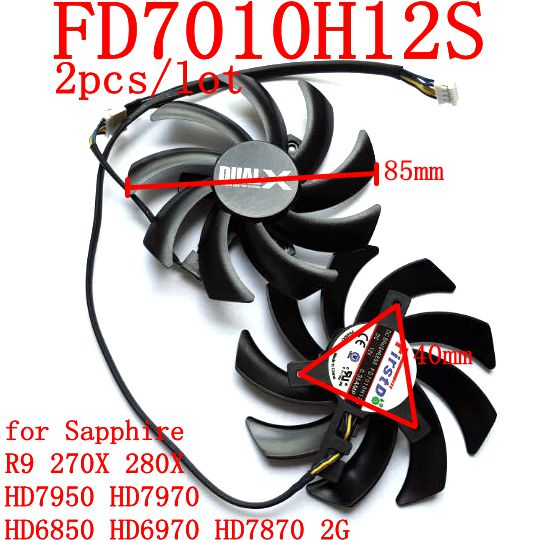 US $13 19 12% OFF|New original FirstD FD7010H12S 4pin 85mm Dual X Fan for  sapphire HD6850 HD6970 HD7870 2G HD7950 HD7970 graphics card cooling fan-in