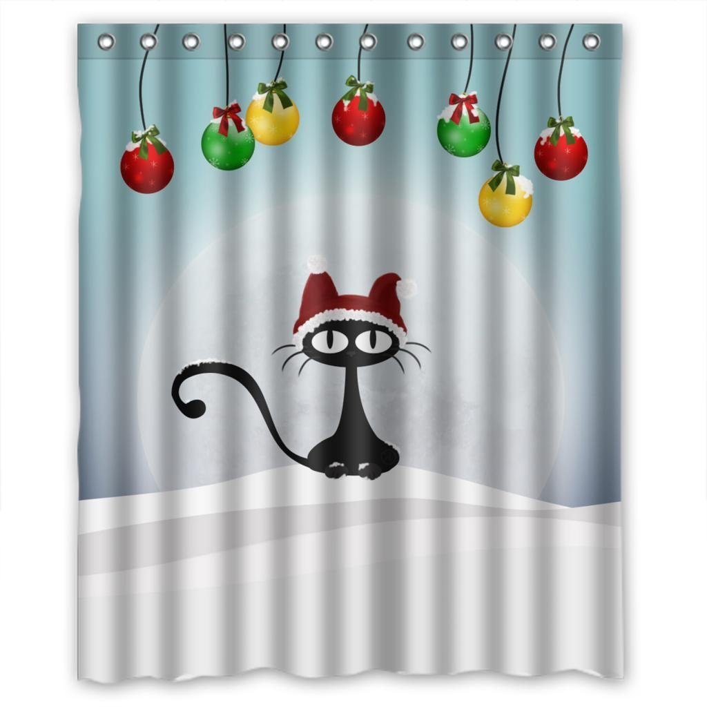 Bright shower curtain - Warm Tour Cute Black Cat With Red Cap Bright Moon Shower Curtain Polyester Curtain Hospital Hotel With Hooks Ring 72 X72