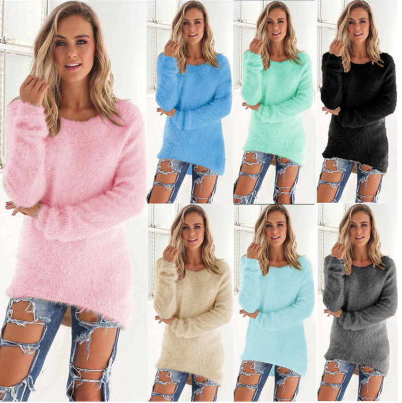 Plus Size Solid Christmas Sweater Long Sleeve Round Neck Warm Winter Clothes Women Casual Jumper Pullovers Kardigany Damskie Rz*