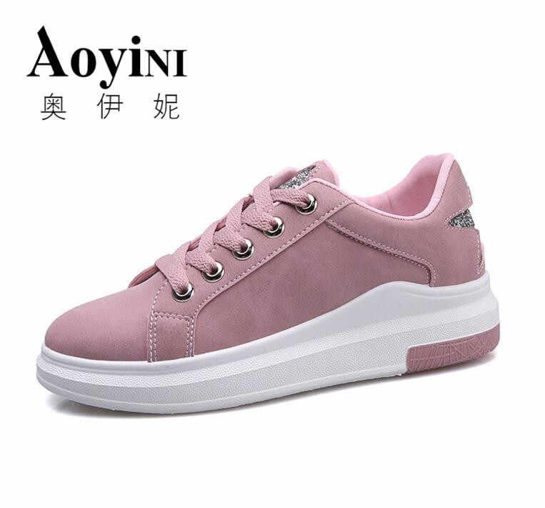 63c3b684 Повседневная обувь из мягкой кожи на шнуровке, дышащая обувь для студентов  розового цвета, слипоны
