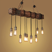 цена на Nordic Design Vintage LED Pendant Lamp Loft Edison Industrial Iron Wood Hanging Light Home Decor Lights Pendant Lighting E27