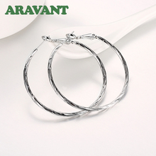 Silver Color Round Creole Hoop Earrings For Women European Minimalism Top Quality Jewelry