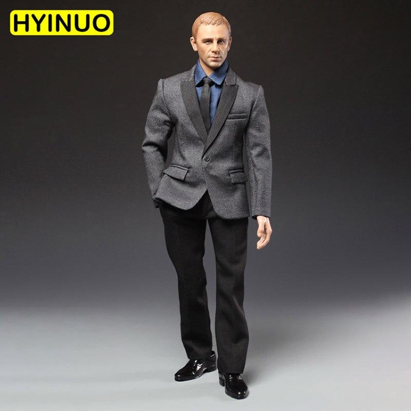 Argent chaud 1/6 échelle PC001 hommes costumes pantalon cravate en forme de chemise bleue vêtements ensemble de vêtements modèle pour 12