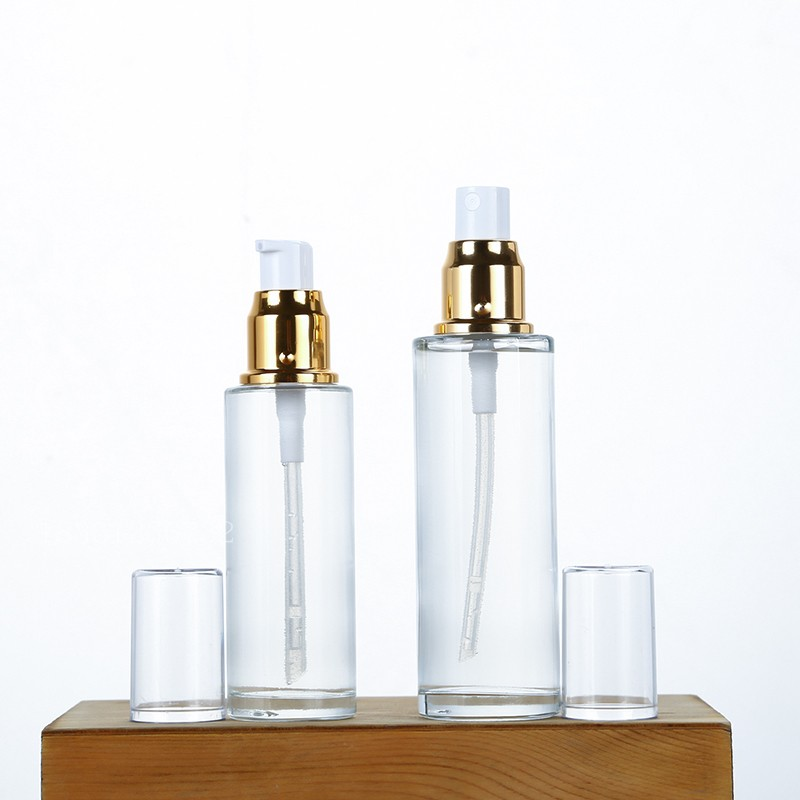 Clear Glass Bottle Gold Lotion Pump Bottle 50ML 60ML 80ML Cosmetic Packaging Container Gold Lid Glass