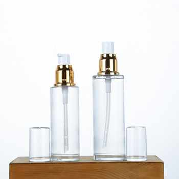 Clear Glass Bottle Gold Lotion Pump Bottle 50ML 60ML 80ML Cosmetic Packaging Container Gold Lid Glass Spray Bottles 100pcs - DISCOUNT ITEM  5% OFF All Category
