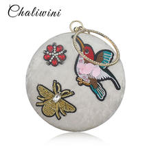 Chaliwini Ретро сумка с цветочной вышивкой бархатная через плечо